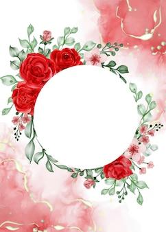 Fondo de marco de flor roja rosa libertad con círculo de espacio en blanco