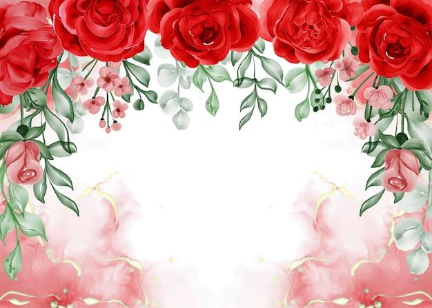 Fondo de marco de flor roja rosa libertad con espacio en blanco