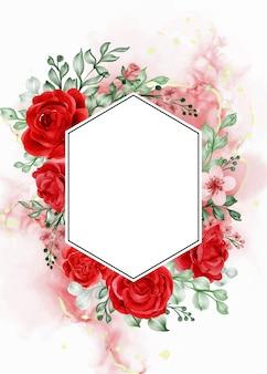 Fondo de marco de flor roja rosa libertad con hexágono de espacio en blanco
