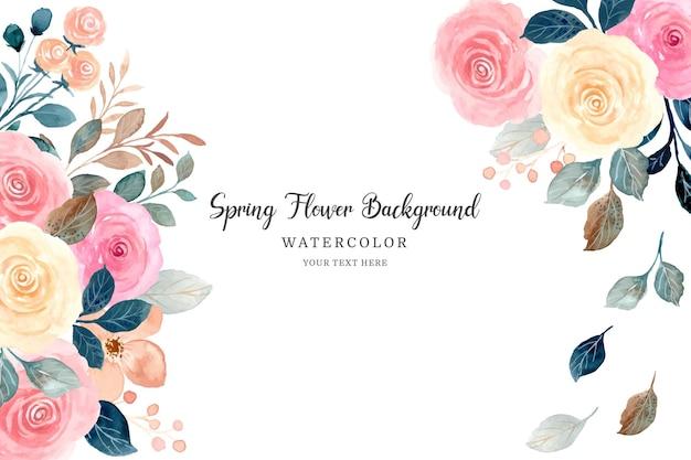 Fondo de marco de flor rosa acuarela