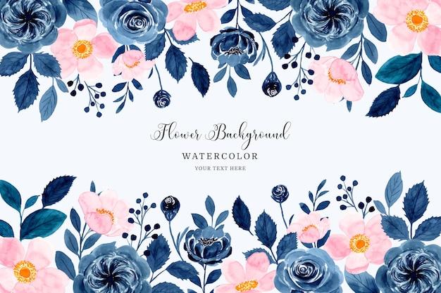 Fondo de marco de flor rosa azul con acuarela