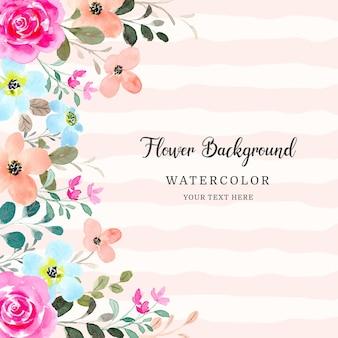 Fondo de marco de flor rosa rosa acuarela
