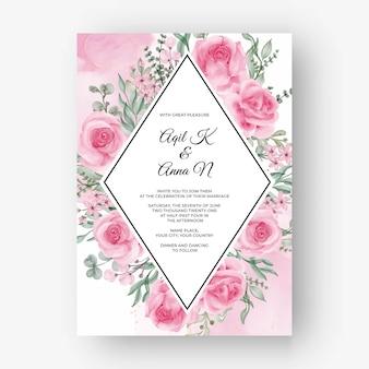 Fondo de marco de flor rosa rosa para invitación de boda