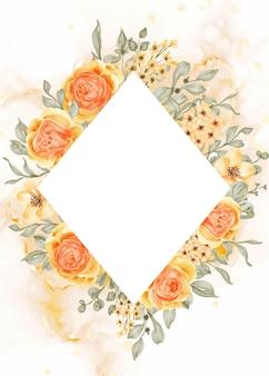 Fondo de marco de flor rosa de talitha con diamante de espacio en blanco, rosa naranja amarillo