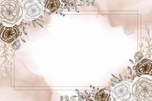 Fondo de marco floral acuarela con flor de caramelo marrón