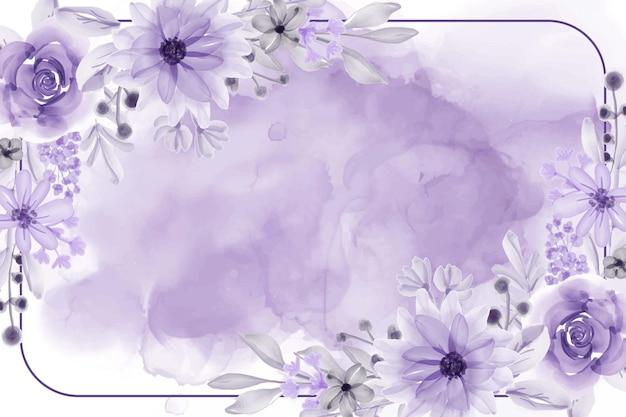 Fondo de marco floral acuarela con flor morada suave