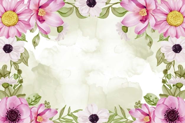 Fondo de marco floral acuarela con flores rosadas y acuarela de hojas verdes