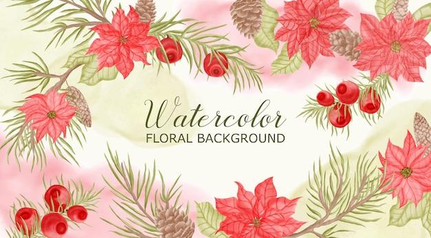 Fondo de marco floral acuarela para plantilla de banner de boda