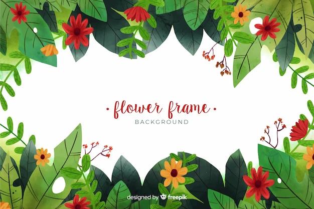 Fondo de marco floral acuarela