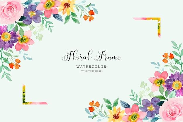 Fondo de marco floral colorido con acuarela