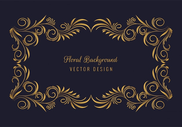 Fondo de marco floral dorado decorativo elegante