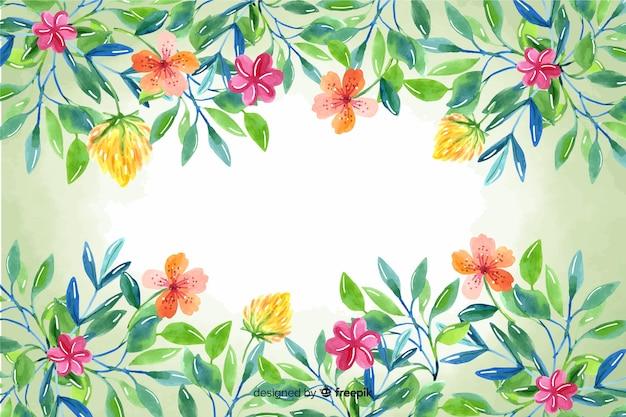 Fondo de marco floral pintado a mano de naturaleza