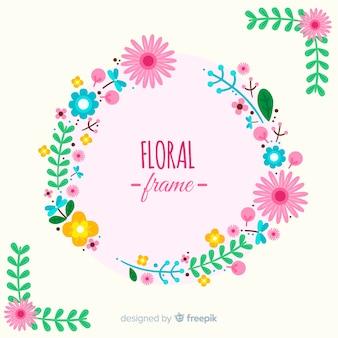 Fondo marco floral plano