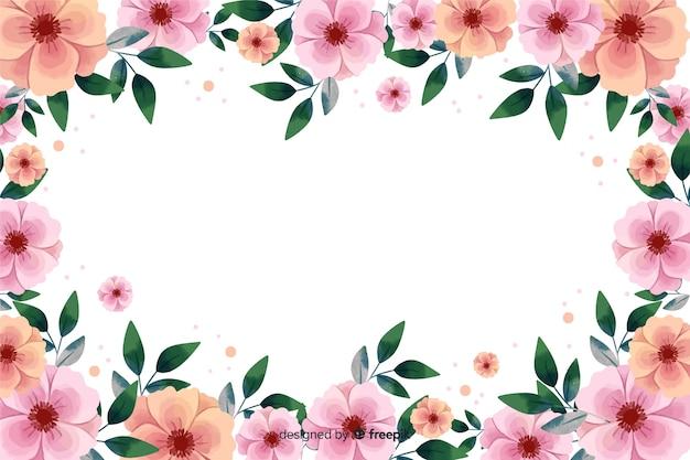 Fondo de marco floral rosa acuarela