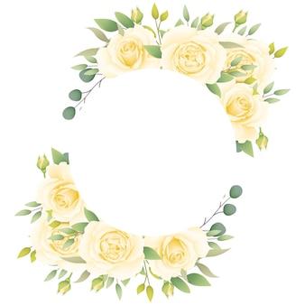 Fondo de marco floral con rosas blancas