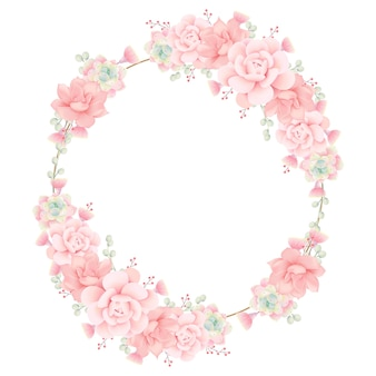 Fondo de marco floral con suculentas.
