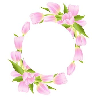 Fondo de marco floral con tulipán rosa