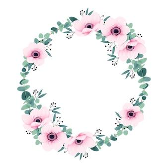 Fondo de marco con flores de anémona y eucalipto.