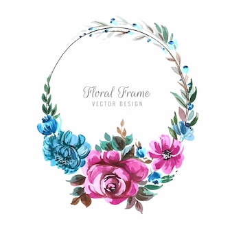 Fondo de marco de flores de colores decorativos