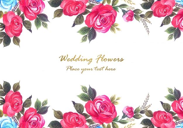 Fondo de marco de flores coloridas de aniversario de boda