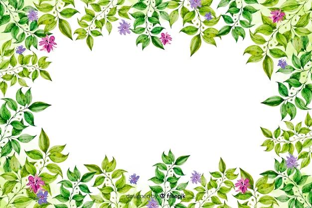 Fondo de marco de flores decorativo en acuarela