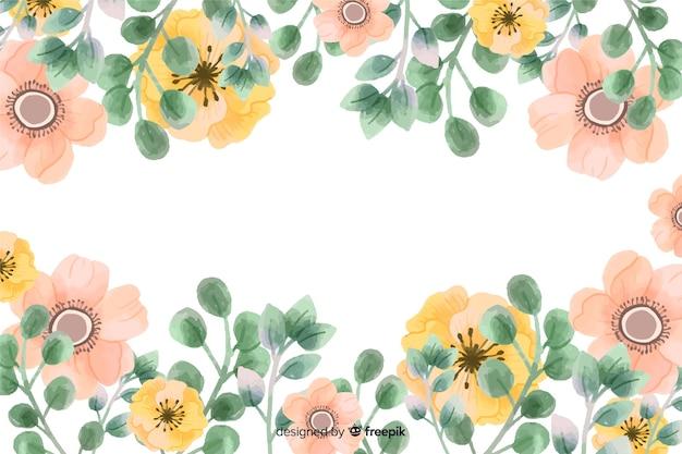 Fondo de marco de flores con diseño de acuarela