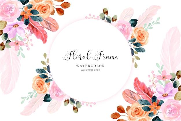 Fondo de marco de flores y plumas en acuarela