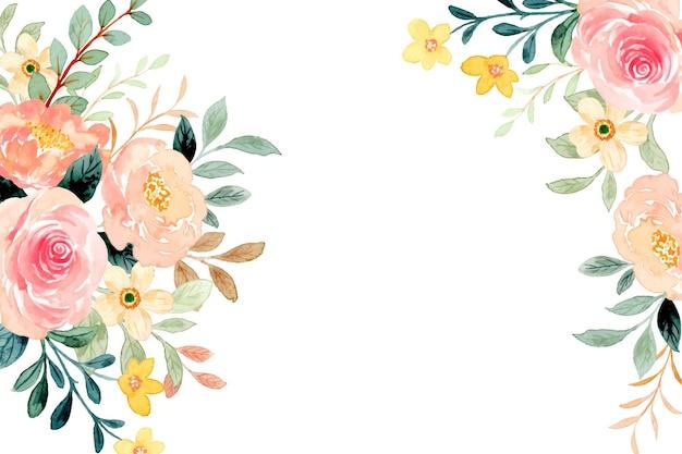 Fondo de marco de flores de primavera con acuarela