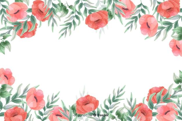Fondo de marco de flores rojas con diseño de acuarela
