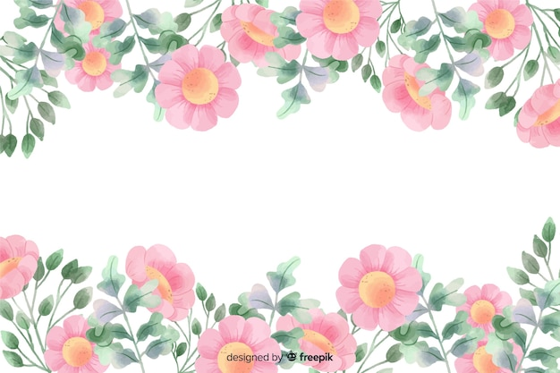 Fondo de marco de flores rosadas con diseño de acuarela
