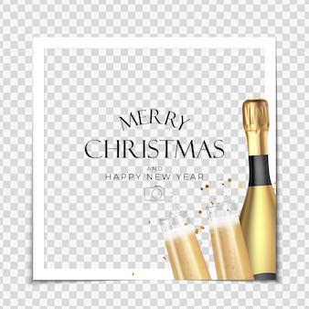 Fondo de marco de fotos de fiesta navideña feliz año nuevo y plantilla de póster de feliz navidad