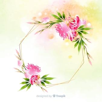 Fondo de marco geométrico floral en acuarela