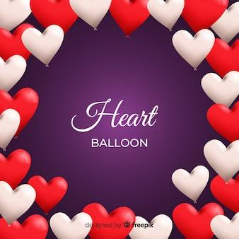 Fondo marco globos corazón