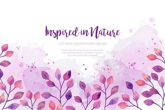 Fondo de marco de hojas de acuarela púrpura