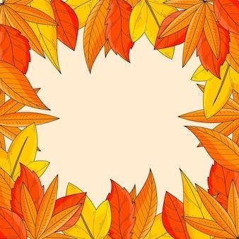 Fondo de marco de hojas de otoño dibujado a mano