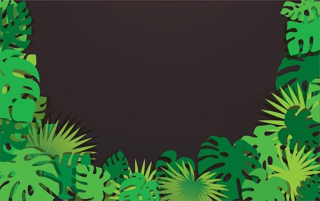 Fondo de marco de hojas tropicales