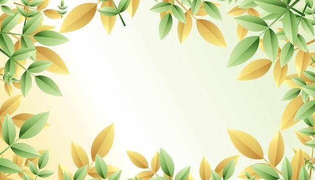 Fondo de marco de hojas verdes y doradas