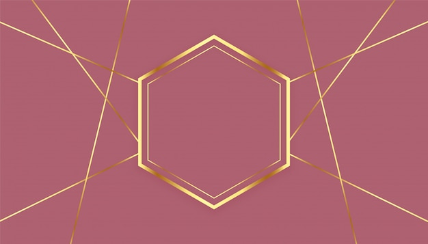 Fondo de marco de líneas doradas hexagonales premium