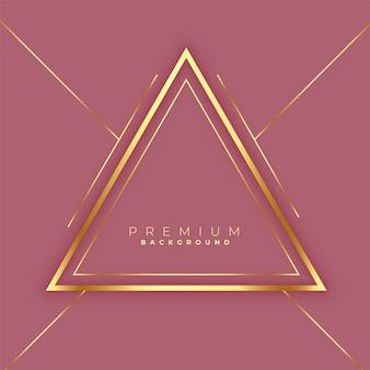 Fondo de marco de líneas doradas de triángulos premium