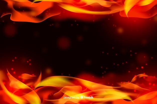 Fondo de marco de llamas realistas