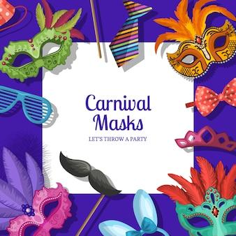 Fondo de marco con lugar para texto con máscaras y accesorios de fiesta