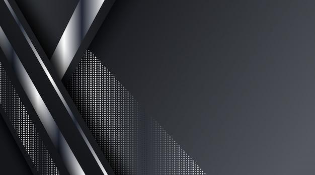 Fondo de marco metálico plateado negro abstracto