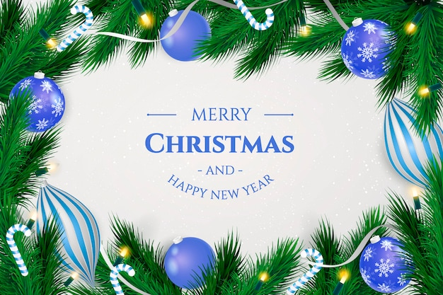 Fondo de marco de navidad con bolas azules realistas