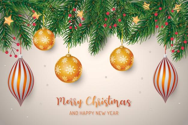 Fondo de marco de navidad con bolas de oro realistas