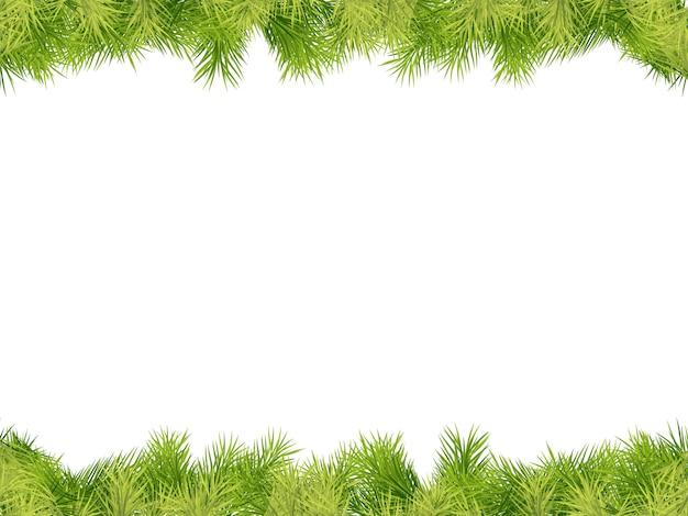 Fondo de marco de navidad con borde de rama de abeto