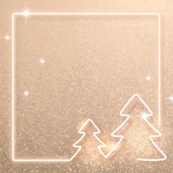 Fondo de marco de navidad de neón dorado