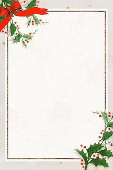 Fondo de marco de navidad rectangular festivo en blanco