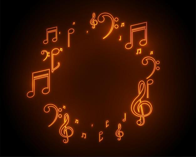 Fondo de marco de notas de sonido de música