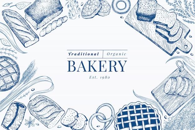 Fondo de marco de pan y pastelería. vector panadería dibujado a mano ilustración. plantilla de diseño vintage.