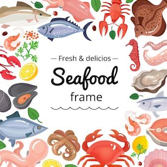 Fondo de marco de productos marinos